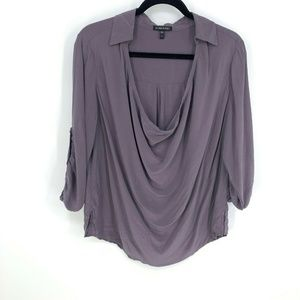Eileen Fisher Cowl Neck Collared L/S Silk Blouse